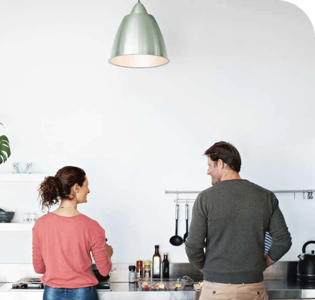 homeowner couple in their kitchen
